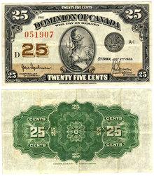 1923 -  1870 25-CENT NOTE, HYNDMAN/SAUNDERS (EF)