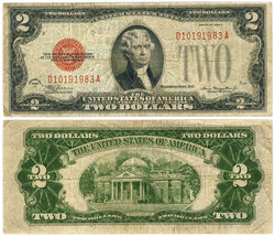 1928 -  UNITED STATES 2-DOLLAR BILL (VG)