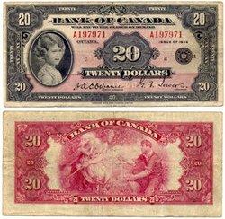 1935 -  1935 ENGLISH 20-DOLLAR NOTE, OSBORNE/TOWERS (VF)