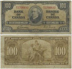 1937 -  1937 100-DOLLAR NOTE, GORDON/TOWERS (VG)
