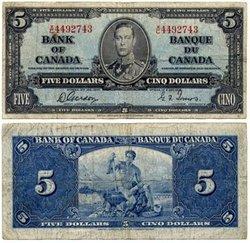 1937 -  1937 5-DOLLAR NOTE, GORDON/TOWERS (VG)