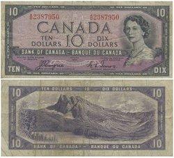 1954 - DEVIL'S FACE PORTRAIT -  1954 10-DOLLAR NOTE, COYNE/TOWERS (F)