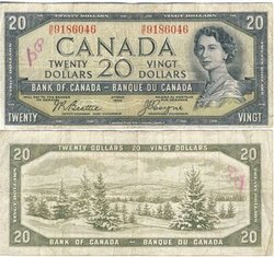 1954 - DEVIL'S FACE PORTRAIT -  1954 20-DOLLAR NOTE, BEATTIE/COYNE (F)