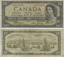 1954 - DEVIL'S FACE PORTRAIT -  1954 20-DOLLAR NOTE, COYNE-TOWERS (F)
