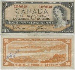 1954 - DEVIL'S FACE PORTRAIT -  1954 50-DOLLAR NOTE, BEATTIE/COYNE (VF)
