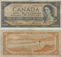 1954 - DEVIL'S FACE PORTRAIT -  1954 50-DOLLAR NOTE, BEATTIE/COYNE (VG)