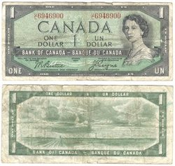 1954 - MODIFIED PORTRAIT -  1954 1-DOLLAR NOTE, BEATTIE/COYNE (VG)