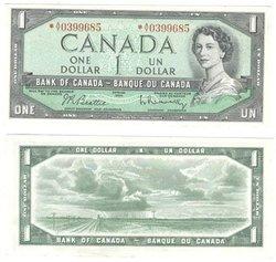 1954 - MODIFIED PORTRAIT -  1954 1-DOLLAR NOTE, BEATTIE/RASMINSKY (AU)