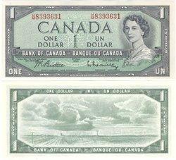 1954 - MODIFIED PORTRAIT -  1954 1-DOLLAR NOTE, BEATTIE/RASMINSKY (CUNC)