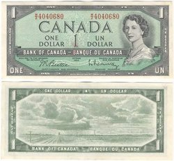 1954 - MODIFIED PORTRAIT -  1954 1-DOLLAR NOTE, BEATTIE/RASMINSKY (EF)