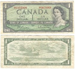 1954 - MODIFIED PORTRAIT -  1954 1-DOLLAR NOTE, BEATTIE/RASMINSKY (F)