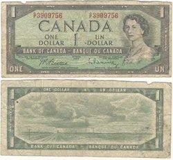 1954 - MODIFIED PORTRAIT -  1954 1-DOLLAR NOTE, BEATTIE/RASMINSKY (G)