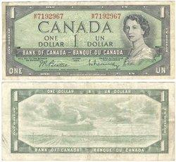 1954 - MODIFIED PORTRAIT -  1954 1-DOLLAR NOTE, BEATTIE/RASMINSKY (VF)