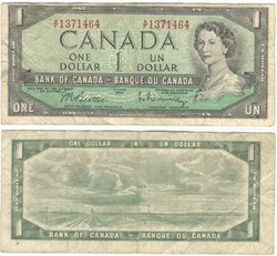 1954 - MODIFIED PORTRAIT -  1954 1-DOLLAR NOTE, BEATTIE/RASMINSKY (VG)