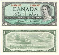 1954 - MODIFIED PORTRAIT -  1954 1-DOLLAR NOTE, BOUEY/RASMINSKY (CUNC)