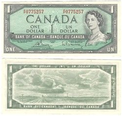 1954 - MODIFIED PORTRAIT -  1954 1-DOLLAR NOTE, BOUEY/RASMINSKY (EF)