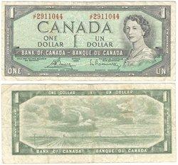 1954 - MODIFIED PORTRAIT -  1954 1-DOLLAR NOTE, BOUEY/RASMINSKY (F)