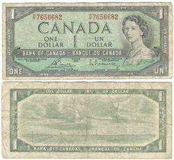1954 - MODIFIED PORTRAIT -  1954 1-DOLLAR NOTE, BOUEY/RASMINSKY (G)