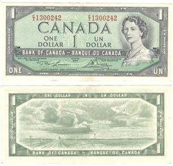 1954 - MODIFIED PORTRAIT -  1954 1-DOLLAR NOTE, LAWSON/BOUEY (AU)