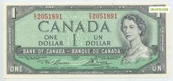 1954 - MODIFIED PORTRAIT -  1954 1-DOLLAR NOTE, LAWSON/BOUEY (CUNC)