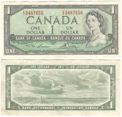 1954 - MODIFIED PORTRAIT -  1954 1-DOLLAR NOTE, LAWSON/BOUEY (EF)
