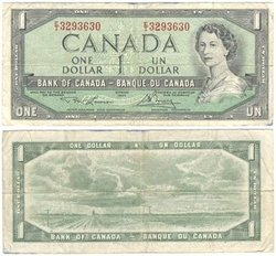 1954 - MODIFIED PORTRAIT -  1954 1-DOLLAR NOTE, LAWSON/BOUEY (F)