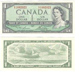 1954 - MODIFIED PORTRAIT -  1954 1-DOLLAR NOTE, LAWSON/BOUEY (UNC)