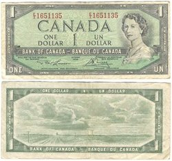 1954 - MODIFIED PORTRAIT -  1954 1-DOLLAR NOTE, LAWSON/BOUEY (VF)