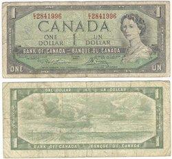 1954 - MODIFIED PORTRAIT -  1954 1-DOLLAR NOTE, LAWSON/BOUEY (VG)