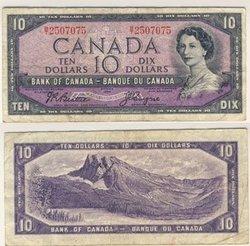 1954 - MODIFIED PORTRAIT -  1954 10-DOLLAR NOTE, BEATTIE/COYNE (F)