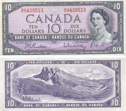 1954 - MODIFIED PORTRAIT -  1954 10-DOLLAR NOTE, BEATTIE/RASMINSKY (EF)