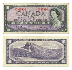 1954 - MODIFIED PORTRAIT -  1954 10-DOLLAR NOTE, BEATTIE/RASMINSKY (F)