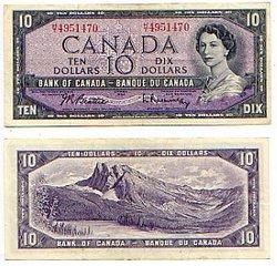 1954 - MODIFIED PORTRAIT -  1954 10-DOLLAR NOTE, BEATTIE/RASMINSKY (VF)