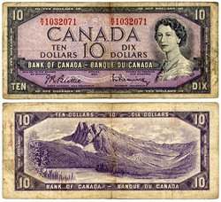 1954 - MODIFIED PORTRAIT -  1954 10-DOLLAR NOTE, BEATTIE/RASMINSKY (VG)