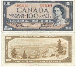 1954 - MODIFIED PORTRAIT -  1954 100-DOLLAR NOTE, BEATTIE/COYNE (VF)