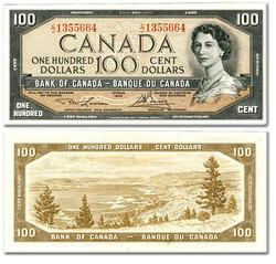 1954 - MODIFIED PORTRAIT -  1954 100-DOLLAR NOTE, LAWSON/BOUEY (AU)
