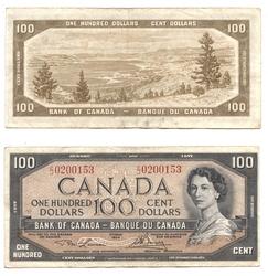 1954 - MODIFIED PORTRAIT -  1954 100-DOLLAR NOTE, LAWSON/BOUEY (F)