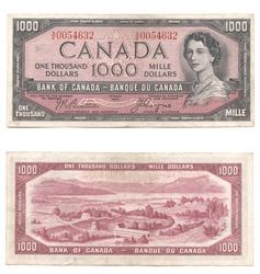 1954 - MODIFIED PORTRAIT -  1954 1000-DOLLAR NOTE, BEATTIE/COYNE (VF)