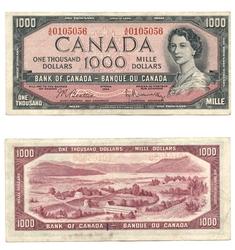 1954 - MODIFIED PORTRAIT -  1954 1000-DOLLAR NOTE, BEATTIE/RASMINSKY (F)