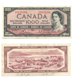 1954 - MODIFIED PORTRAIT -  1954 1000-DOLLAR NOTE, BOUEY/RASMINSKY (VF)