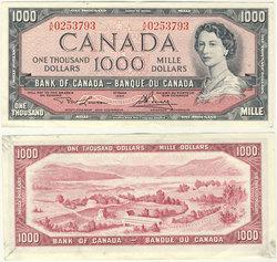 1954 - MODIFIED PORTRAIT -  1954 1000-DOLLAR NOTE, LAWSON/BOUEY (AU)