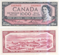 1954 - MODIFIED PORTRAIT -  1954 1000-DOLLAR NOTE, LAWSON/BOUEY (CUNC)