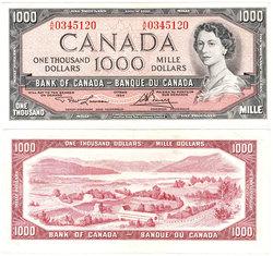 1954 - MODIFIED PORTRAIT -  1954 1000-DOLLAR NOTE, LAWSON/BOUEY (EF)