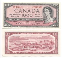 1954 - MODIFIED PORTRAIT -  1954 1000-DOLLAR NOTE, THIESSEN/CROW (EF)