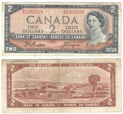 1954 - MODIFIED PORTRAIT -  1954 2-DOLLAR NOTE, BEATTIE/COYNE (F)