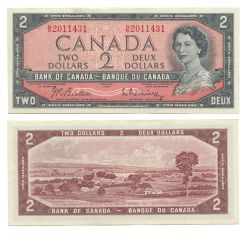 1954 - MODIFIED PORTRAIT -  1954 2-DOLLAR NOTE, BEATTIE/RASMINSKY (AU)