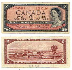 1954 - MODIFIED PORTRAIT -  1954 2-DOLLAR NOTE, BEATTIE/RASMINSKY (F)