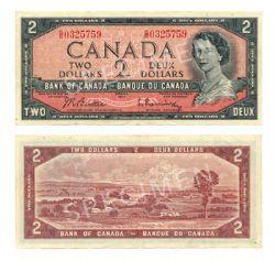 1954 - MODIFIED PORTRAIT -  1954 2-DOLLAR NOTE, BEATTIE/RASMINSKY (VF)