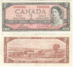 1954 - MODIFIED PORTRAIT -  1954 2-DOLLAR NOTE, BOUEY/RASMINSKY (F)