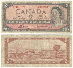 1954 - MODIFIED PORTRAIT -  1954 2-DOLLAR NOTE, BOUEY/RASMINSKY (VG)
